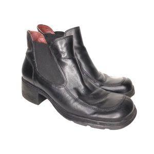 Vintage 90s Ankle Booties Chunky Heel Leather 9N